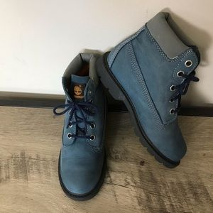Kids TIMBERLAND Blue LEATHER Lace Up WORK BOOTS
